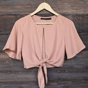 Key To My Heart Front Tie Crop Top in More Colors