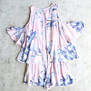 paper heart - clear skies ahead floral romper - pink