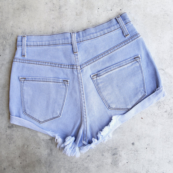 Embroidered High Waist Denim Shorts in Light Stone Wash