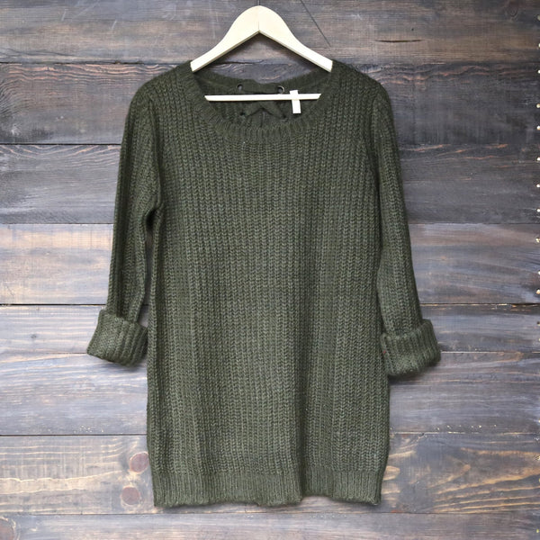 long sleeve lace up back sweater - olive - shophearts - 2