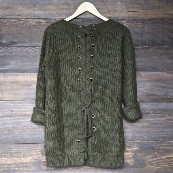 long sleeve lace up back sweater - olive - shophearts - 1