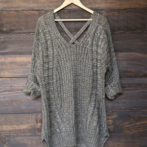 oversize cross back knit sweater - marle olive - shophearts - 2