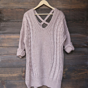 oversize cross back knit sweater - marle mauve - shophearts - 2