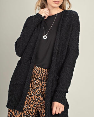 fuzzy front pocketed open cardigan - black
