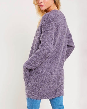 fuzzy knit sweater open-front cardigan in PURPLE GREY
