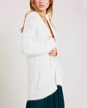 fuzzy knit sweater open-front cardigan in CREAM