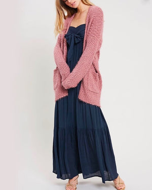fuzzy knit sweater open-front cardigan in MAUVE