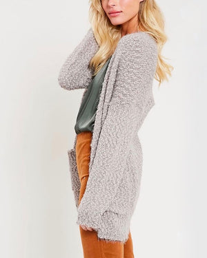 fuzzy knit sweater open-front cardigan in MOCHA