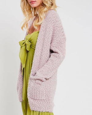 fuzzy knit sweater open-front cardigan in TWIG
