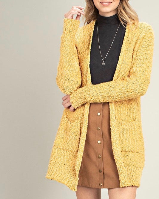 fuzzy popcorn yarn front pocketed open cardigan - mustard