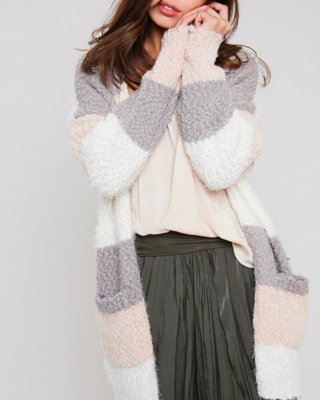 54343edaeb fuzzy popcorn yarn sweater color block long cardigan in stripe cream multi