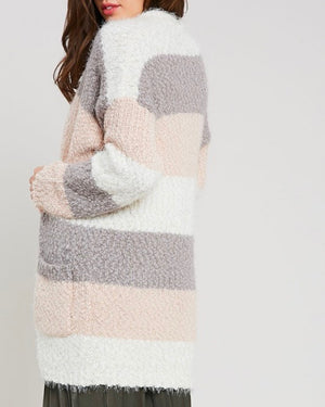 fuzzy popcorn yarn sweater color block long cardigan in stripe cream multi