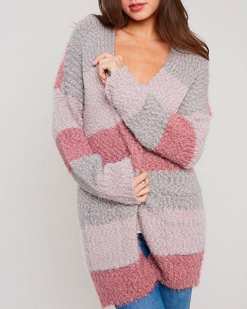 fuzzy popcorn yarn sweater color block long cardigan in stripe mauve multi