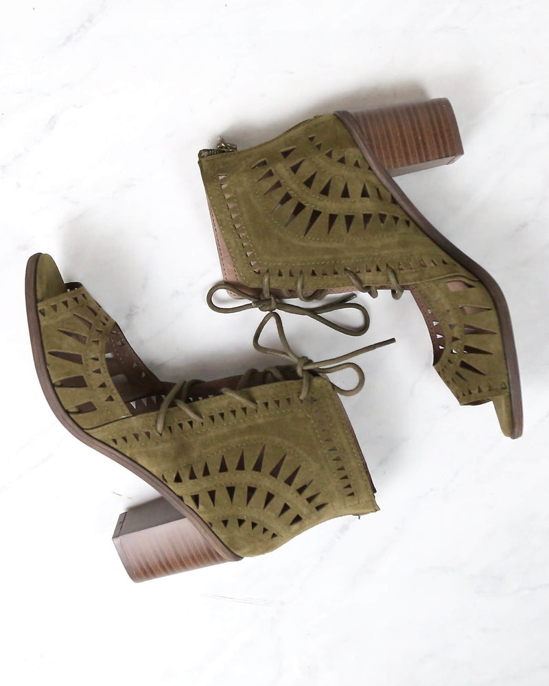 Leilani Vegan Suede Cut Out Lace Up Chunky Mule Heel in More Colors
