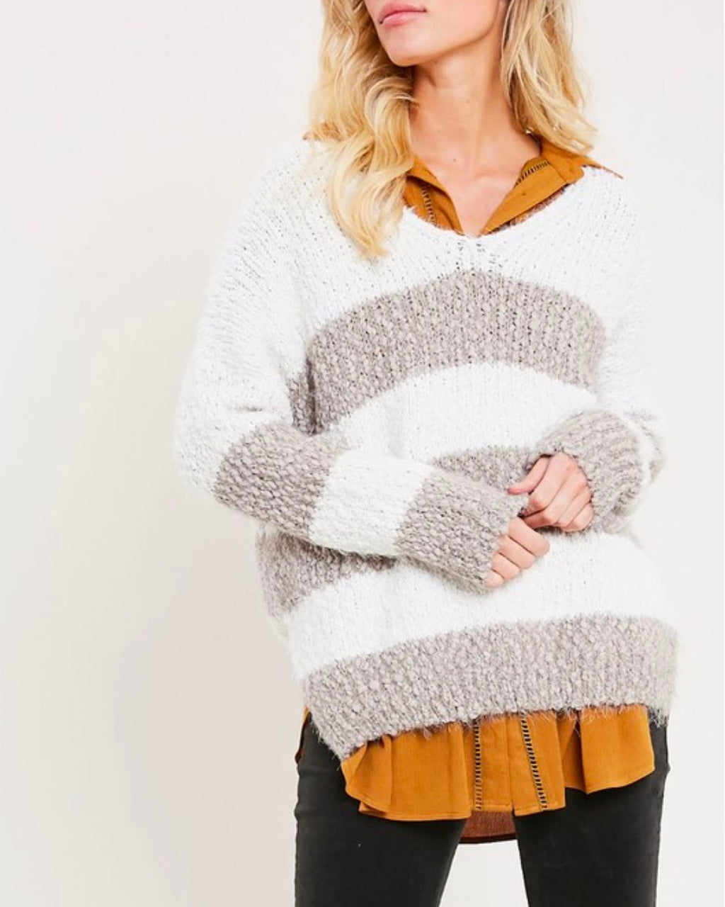 girls like me striped fuzzy knit sweater with side slit in mocha/cream