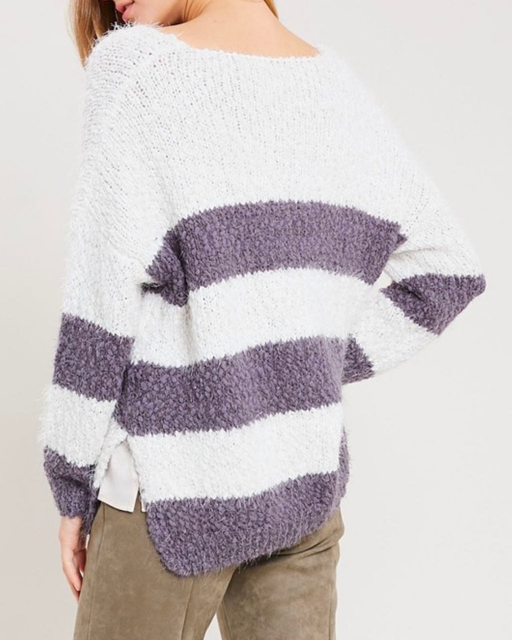 girls like me stripped fuzzy knit sweater with side slit in purple grey/cream