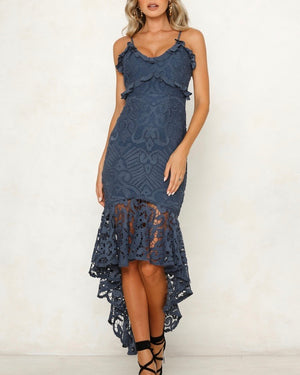 glamorous floral crochet lace fishtail ruffle trim dress in midnight blue