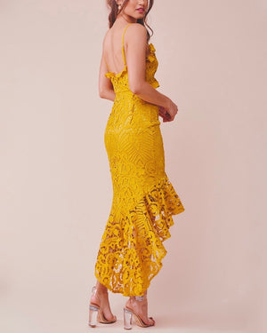 Glamorous Floral Crochet Lace Fishtail Ruffle Trim Dress in Mustard