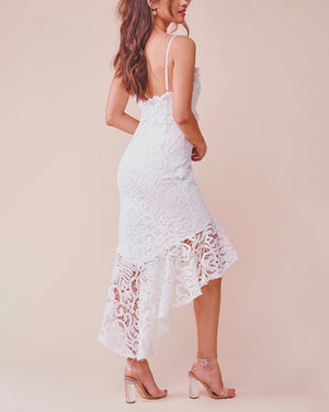 Glamorous Floral Crochet Lace Fishtail Ruffle Trim Dress in White