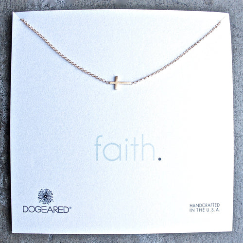 dogeared whispers sideways cross necklace in gold dipped - shophearts