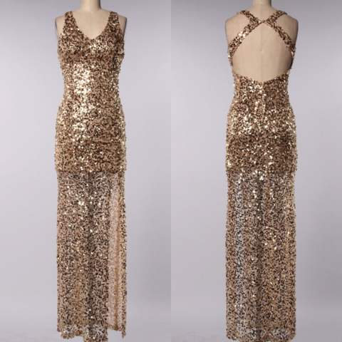 perfect party ball gown gold sequin maxi dress - shophearts - 1