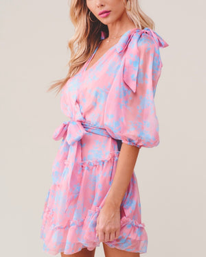 hacienda heights ruffle hem faux wrap neck quarter sleeve mini dress in rose