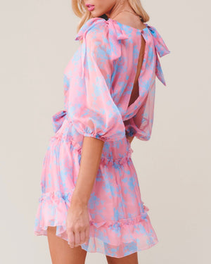 Hacienda Heights Ruffle Hem Quarter Sleeve Mini Dress in Rose