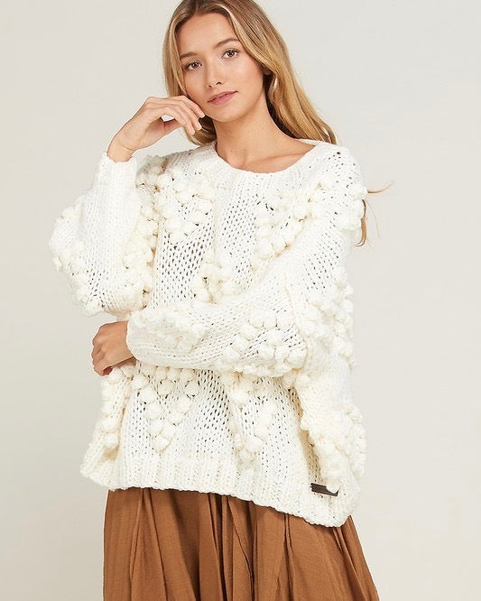 Heart On My Sleeves - handmade relaxed open knit knotted sweater - Cream