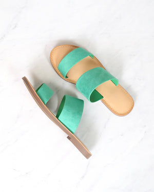 Harmony Double Strap Faux Suede Sandals in Emerald