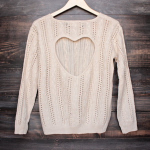 heart cut out sweater in beige by reverse - shophearts - 2
