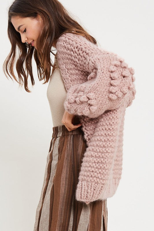 Heart On My Sleeves - handmade relaxed open knit knotted open front cardigan sweater - Mauve