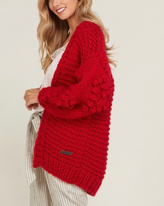 Heart On My Sleeves - handmade relaxed open knit knotted open front cardigan sweater - Red