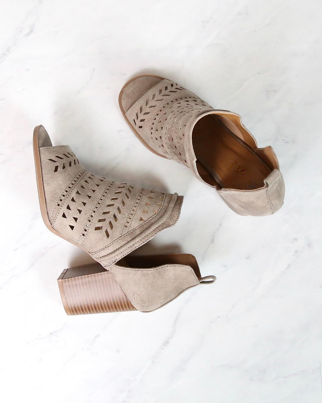Final Sale - Heart to Hold Perforated Peep Toe Booties in Distressed Leatherette Taupe