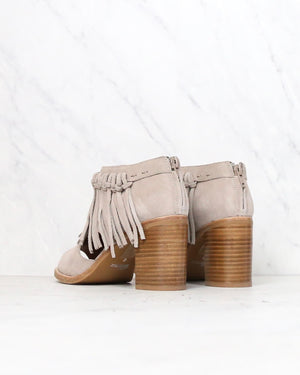 sbicca - hickory beige suede leather fringe ankle booties