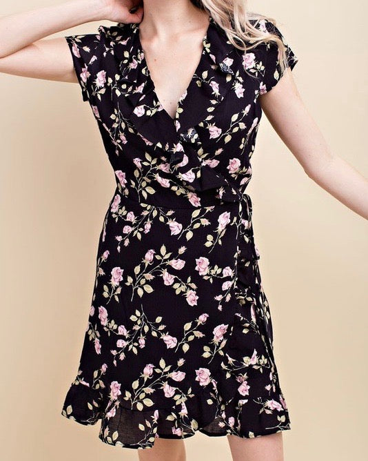 Honey Belle - Floral Wrap Mini Dress in Black/Pink