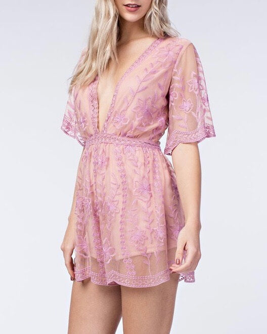 honey punch - as you wish contrasting embroidered lace romper (women) - blush