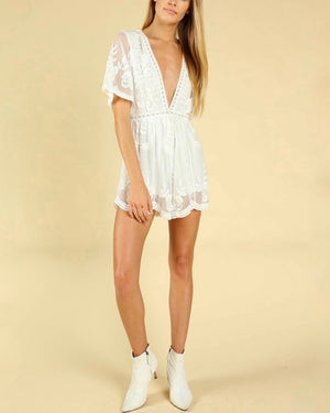Honey Punch - As You Wish Embroidered Lace Romper (Women) - More Colors