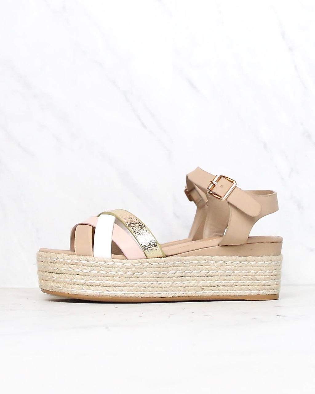 Criss Cross Strappy Band Espadrilles Platform Sandal with Ankle Strap - Blush Multi