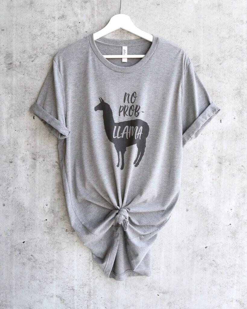 Distracted - No Prob Llama Funny Unisex T-Shirt in Heather Grey/Black