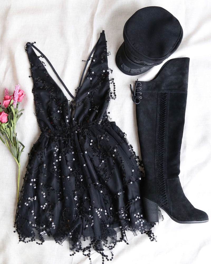FINAL SALE - It's Going to be Alright Glitter Sequin Party Mini Dress in Black