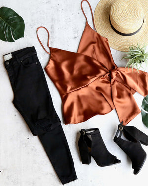 jordyn wrap satin crop top in copper