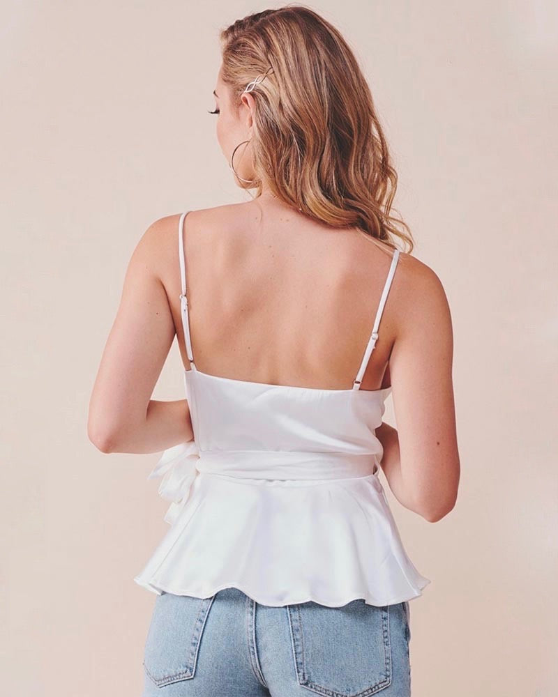 jordyn wrap satin top WHITE