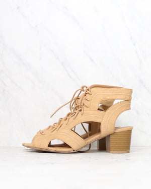 lace-up chunky heeled sandals in toffee