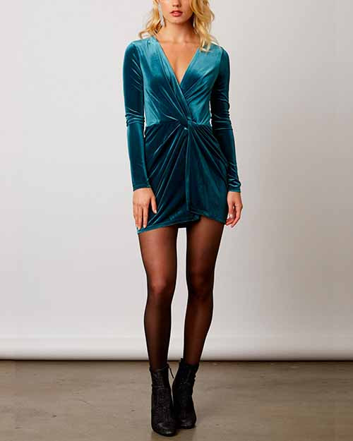 5aa64bf204 avenues long sleeve bodycon velvet dress - more colors