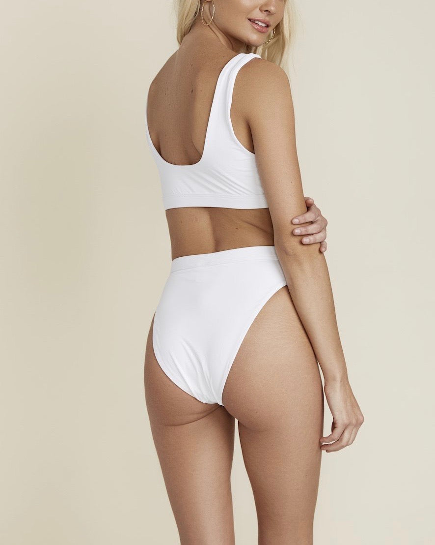 kylie sporty swim top + banded high waist high cut cheeky bottom - separates - white