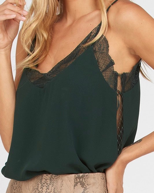 Like It Like That Lace Trimmed Lined Crepe Camisole Tank in Hunter Green
