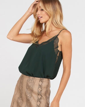 like it like that - lace trimmed lined crepe camisol tank - hunter green