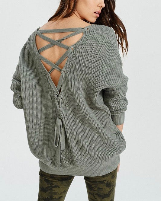 Long Sleeve Lace Up Back Slouchy Sweater in Mint