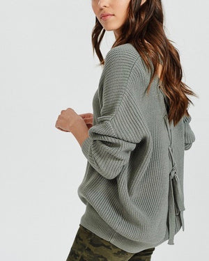 long sleeve lace up back slouchy sweater - mint