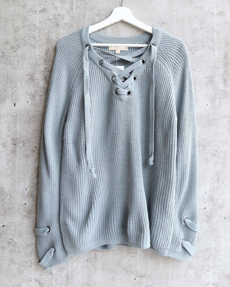 lace up grommet knit sweater - sage